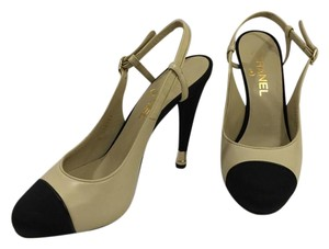 Chanel Slingback High Heel Cream and Black Pumps