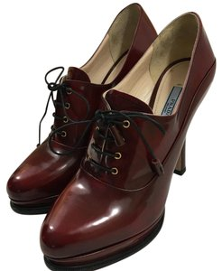 Prada Platform Red Lace Up Leather Burgundy Boots