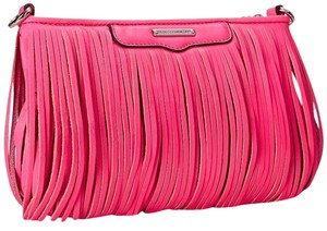 Rebecca Minkoff Large Finn Fringe Leather Electric Pink Clutch