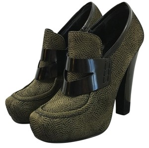 Proenza Schouler Proenza Platform Patent Closed Toe High Heel Green and Black Boots