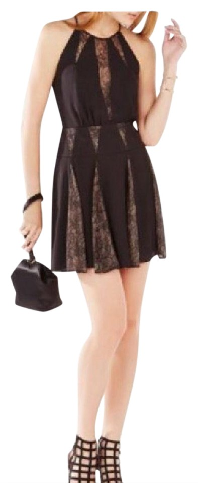 Bcbgmaxazria Black Teena Lace Inserts Halter Above Knee Cocktail