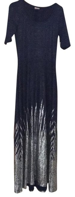 Item - Navy Blue with Silver Details Ana Long Casual Maxi Dress Size 10 (M)