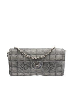 Chanel Grey & Silver Cc Shoulder Bag