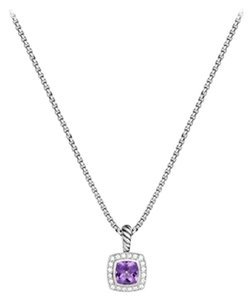 David Yurman Petite Albion Amethyst and Diamonds Pendant with Chain