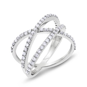 0.67 CT Natural Diamond Crossover Multiple Row Fashion Ring 14k White