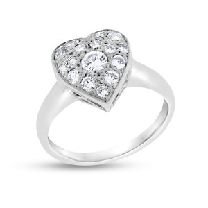 Other 0.50 CT Natural Diamond Heart Ring in Solid 14k White Gold