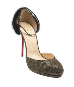 Christian Louboutin Glitter Fabric Black Pumps