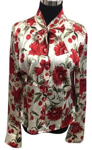 Escada Top cream with red flowers