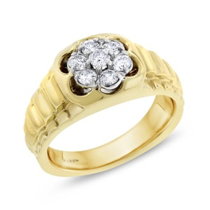 0.50 CT Natural Diamond Men's Watch Style Ring in Solid 14k Yellow