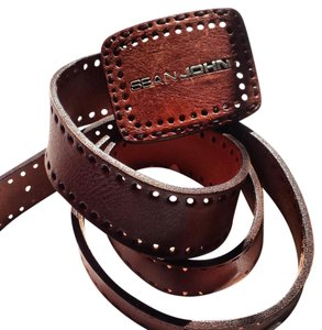 Sean John large buckle leather belt