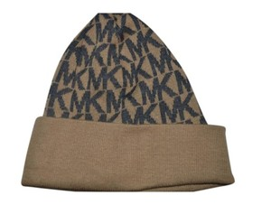 Michael Kors NWT MICHAEL KORS MK SIGNATURE BEANIE WINTER HAT CAMEL GREY ONE SIZE