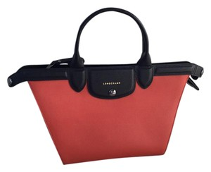 Longchamp Leather Structured Luxe Satchel in Orange, cream, and black