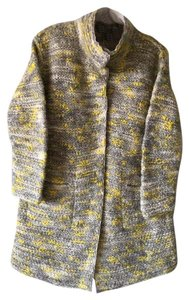 Lafayette 148 New York Wool Knit Jacket Tweed Mid-length Sweater