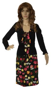 Dolce&Gabbana Black cardigan sweater with bow with tulips and matching skirt.