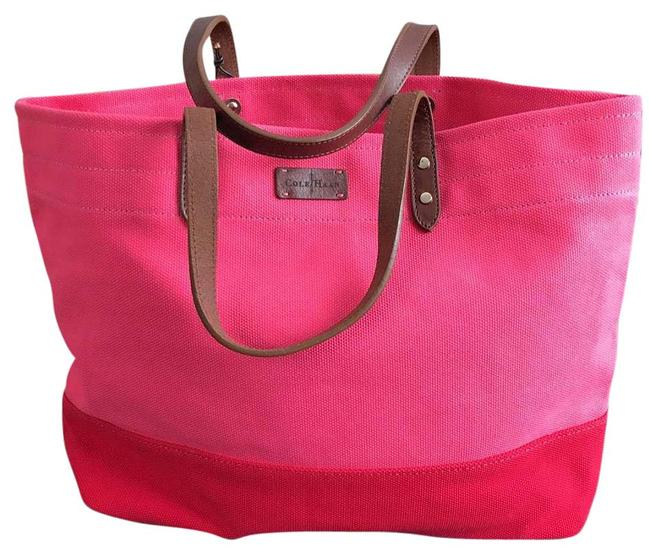 Item - Two-tone Large Pink and Red Canvas Tote