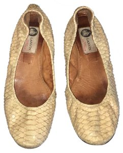 Lanvin Python Edgy Nude Beige Flats