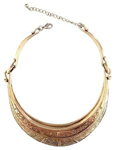Engraved Tribal Collar Necklace in Gold