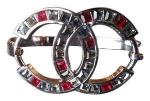 Chanel Red and Gray Gem CC Bangle