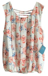 Anthropologie Top White coral blue