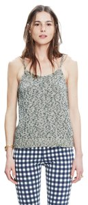 Madewell Back Button Sweater Marled Knit Top GRAY