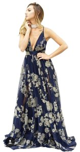 blue with cream printing Maxi Dress by Luxxel
