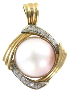 Other 18KT YELLOW GOLD PENDANT PEARL WHITE STONE VINTAGE NO SCRAP 9 GRAMS AN