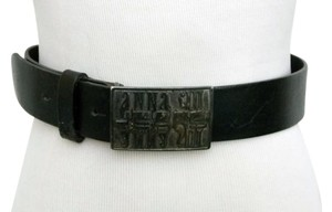 Anna Sui Anna Sui Jeans Belt Black Leather Chunky Buckle Italian 44 US M - L