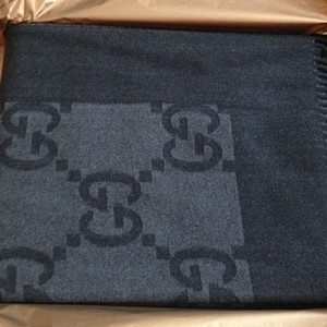 Gucci * Gucci Black Gray Wool/Cashmere Monogram Throw Blanket