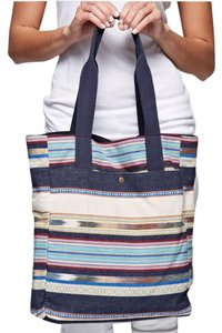 Southern Girl Fashion Weekender Duffle Travel Oversized Patterned Ethnic Bohemian Tote in Blue Multi