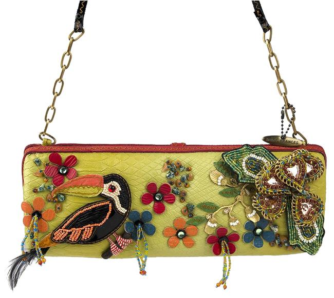 Item - Beaded Toucan Handbag Style #4929 Lime Green Leather with Applique & Beading Baguette
