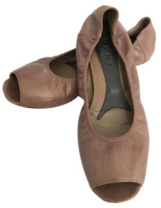 Marni Peep Toe Ballerina Leather Grey Taupe Flats