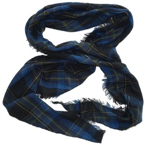 Lauren Ralph Lauren Black Blue Tartan Plaid Fringe Tapered Scarf