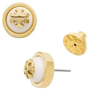 Tory Burch Tory Burch Melodie Stud Dome Earrings, Ivory/Gold