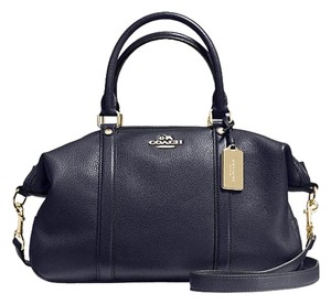 Coach Pebble Leather Black Leather Satchel in Navy