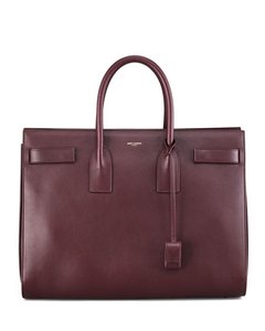 Saint Laurent Yves Sac De Jour Carryall Bordeaux Signature Satchel in Red