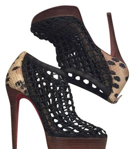 Christian Louboutin black animal print Boots