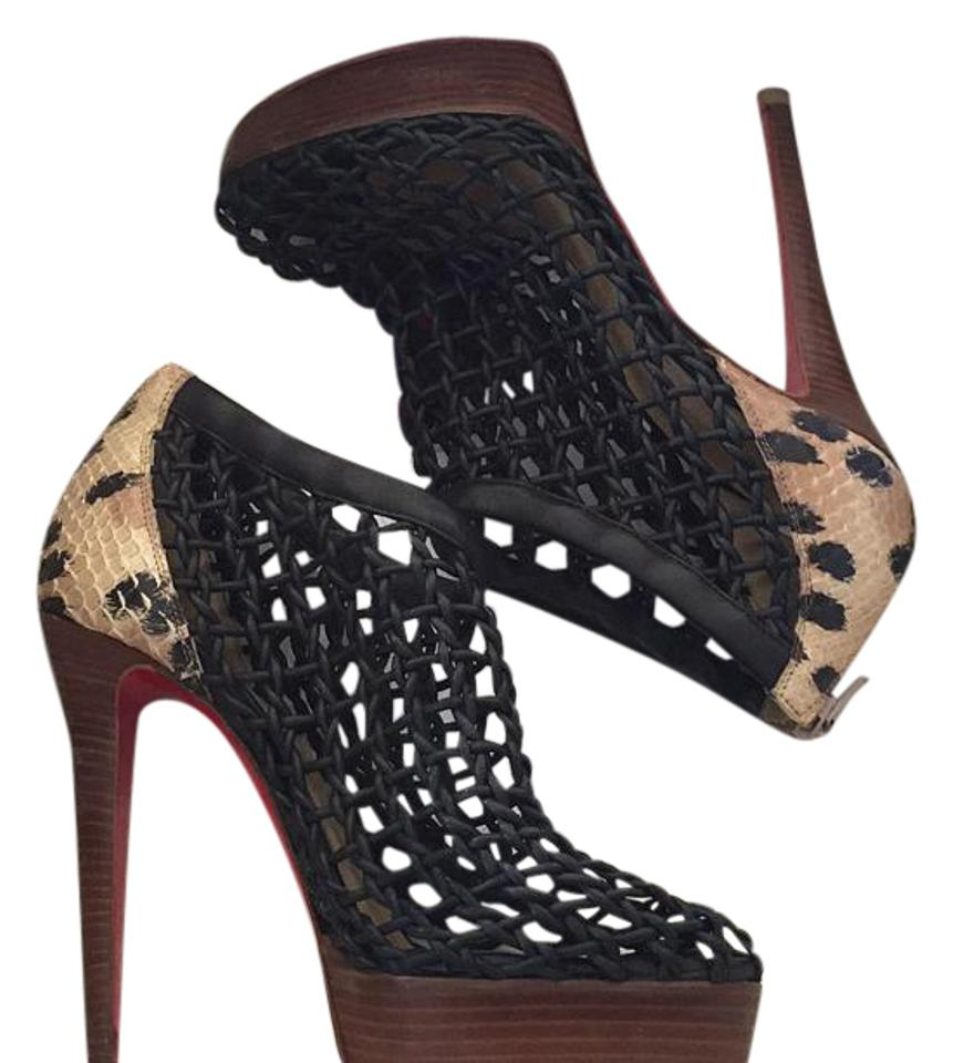 f114ee99c1d2 Christian Louboutin Black Animal Print Coussin 140 Boots Booties ...