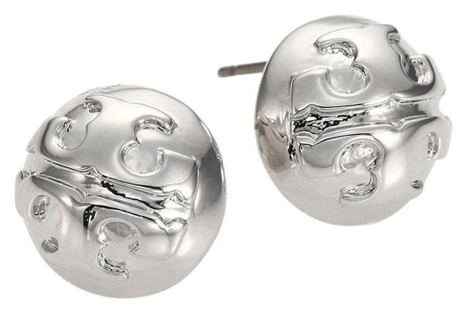 Tory Burch Silver Stud Domed Logo Earrings