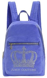 Juicy Couture Wildflower Crystal Crown Velour Embroidered Logo Backpack Cross Body Bag