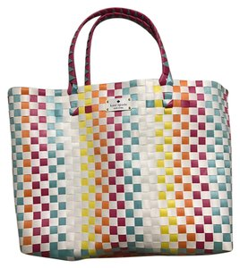 Kate Spade New York Summer Colorful Woven Tote in White
