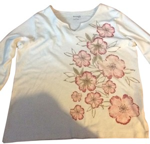 Keneth Too long sleeve Knit large Top cream with pink details