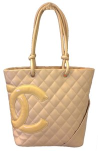 Chanel Cambon Calfskin Patent Leather Tote in beige