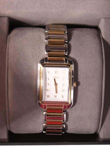 Fendi Silver Gold Link Square Face Watch