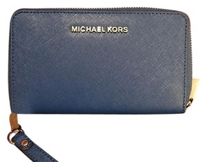Michael Kors Michael Kors Jet Set Travel Large Flat MF Phone Case Blue Wallet