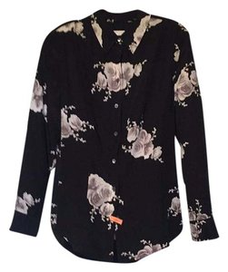 Equipment Silk Flower Print Longsleeve Top black/white/gray