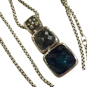 David Yurman David Yurman Sterling Silver Midnight Melange Hematine Hampton Blue Topaz Necklace w/ Diamonds 17 - 18 Inches