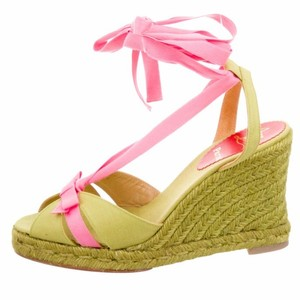 Christian Louboutin Pink, Lime, Green Wedges