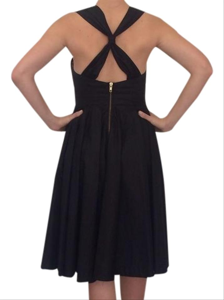 French Connection Black Sweetheart Neckline Knee Length Cocktail