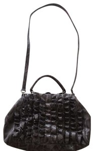Jessica Simpson Ruffles Satchel in Dark grey/Black Snake Skin Print