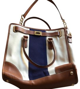 MICHAEL Michael Kors Satchel in navy and taupe